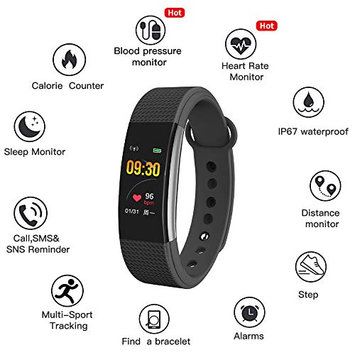 Bingo F1s Smart Health Band with Waterproof Heart Rate Sleep Monitor pedometers Calorie Counter Call Reminder Men Women Boys Kids (Black)