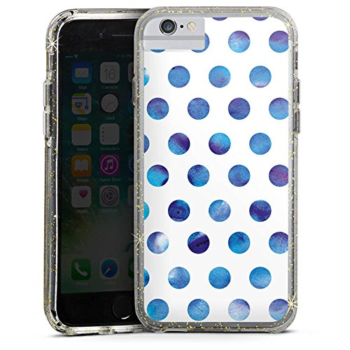 Apple iPhone 8 Bumper Hülle Bumper Case Glitzer Hülle Punkte Dots Watercolour Bumper Case Glitzer gold
