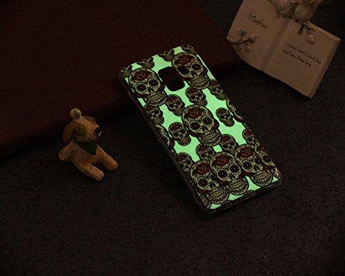 Coque Samsung Galaxy A8 2018,Surakey Nuit Luminous Effet Fluorescent TPU Housse Silicone Transparent Coque Souple Housse Étui Protection TPU Case Cover pour Samsung Galaxy A8 2018 (Crâne)