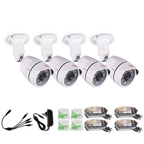 Tonton 4 Pack 1080P Outdoor Überwachungskamera Set Außen CCTV Kamera Set 4 Full HD 1080P Sicherheitskamera für Überwachungssystem Ersatzkamera für Recorder mit Zubehör Wasserdicht Weiße Cctv-kamera