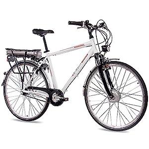 CHRISSON 28 Zoll E-Bike Pedelec City Bike Herrenrad Fahrrad E-Gent mit 7G Nexus & BAFANG 36V 13,4Ah Akku Weiss Matt