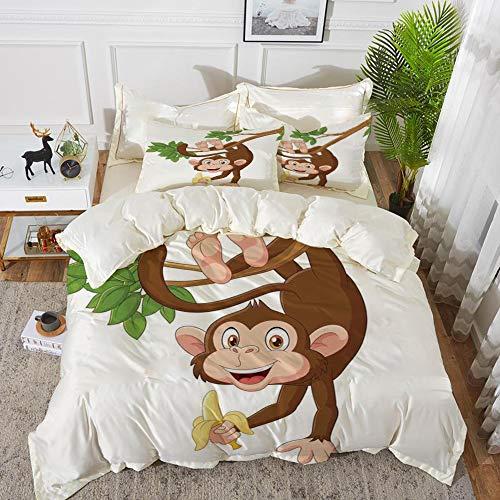 Yaoni Bettwäsche-Set, Mikrofaser, Karikatur, lustiger AFFE, der vom Baum mit Bananen-Dschungel-Tier-Thema-Maskottchen-Druck hängt,1 Bettbezug 200 x 200cm + 2 Kopfkissenbezug 80x80cm