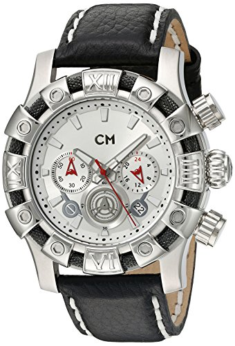 Carlo Monti Arezzo Men's Quartz Watch with Silver Dial Chronograph Display and Black Leather Strap CM122-112