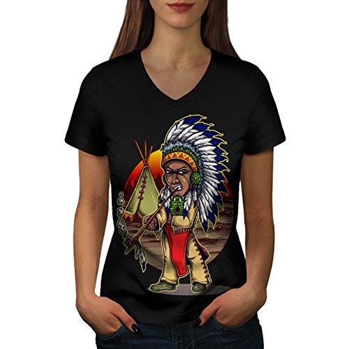Chef Indische Kostüme (Einheimische indisch Chef Chef Women M V-Ausschnitt T-Shirt |)