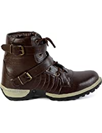Moonster Casual Shoes For Men/Black Synthetic Leather Buti Buckle Boots Party Wear/All Sizes