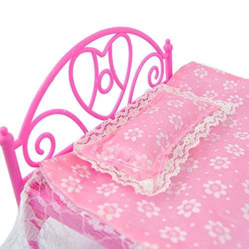 Zantec Rosa Mini Bett mit Kissen für Barbie Puppen Puppenhaus Schlafzimmermöbel 1 (Tragen Freie Stadt)