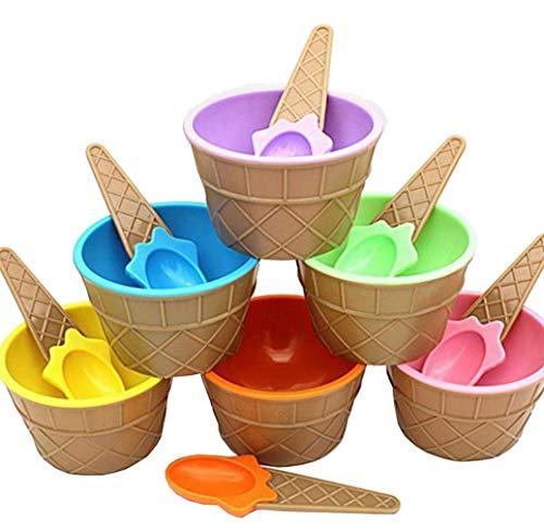 Makwes 12 Stück Kinder Niedlich Bun te EIS-Schalen Eisbecher Geschenke Dessert Schalen,Besteck,Spezialbesteck, Geschirr, Snack Dipschalen,Küche, Haushalt,Wohnen (Papier-snack-becher Gelb)