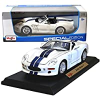 Maisto Year 2014 Special Edition Series 1:18 Scale Die Cast Car Set - White Color with Navy Blue Stripes High Performance Roadster SHELBY SERIES 1 with Display Base (Car Dimension: 9 x 4 x 2-1/2) by Maisto