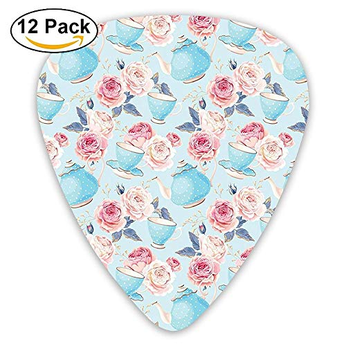 Flowers Roses Vintage Teapot Cups Leaves With Blue Guitar Picks 12/Pack Set Blue Rose Cup