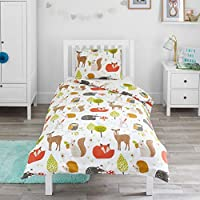 Bloomsbury Mill - Woodland Animals - Kids Bedding Set - Junior/Toddler/Cot Bed Duvet Cover and Pillowcase