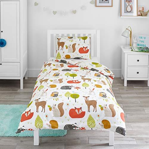 Bloomsbury Mill - Waldtiere - Bettwäscheset für Kinder - Bettbezug 135cm x 200cm und Kissenbezug für Einzelbett