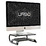 Urbo Hoverla soporte para monitor de dos niveles | Con estante para documentos y teclado | Diseño de malla de ventilación | Gestión de cables para monitores y portátiles en oficina, hogar y coworking