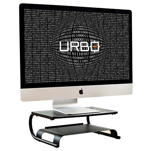 Urbo Hoverla Zwei-Stufen Monitor Halterung, Laptop Ständer mit Papier- und Tastaturablage, Ventilierendes Netz Design, Kabel Management für Bildschirme und Laptops in Büros, Zuhause & Co-Working (Tastaturablage Mit Schreibtisch)