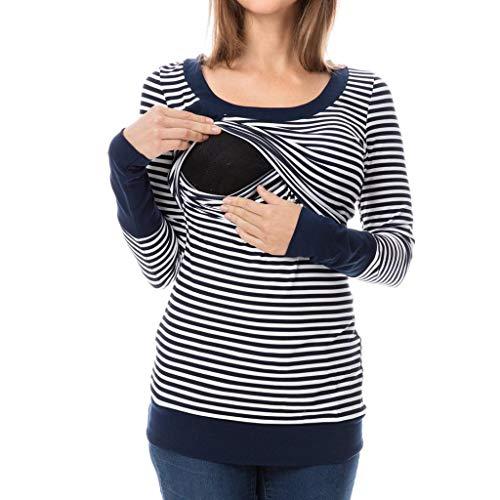VICGREY ❤ Top da Premaman Felpa di maternità Donna Elegante Camicia da Premaman Camicetta Manica Lunga Shirt Premaman Maglietta per maternità