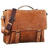 STILORD 'Alfred' Vintage Leder Aktentasche aufsteckbar XL groß 17 Zoll Laptoptasche Lehrertasche Dokumententasche Business Büro, Farbe:taranto - braun