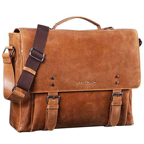 9410b0f5a2e57 STILORD  Alfred  Vintage Leder Aktentasche aufsteckbar XL groß 17 Zoll  Laptoptasche Lehrertasche.