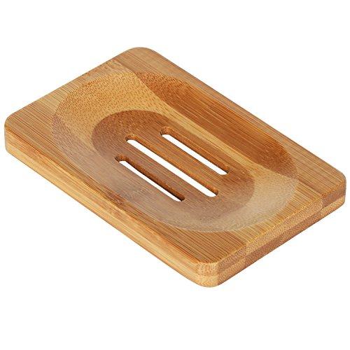 Trixes grande portasapone rettangolare in legno per bagno e lavandini.
