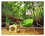 Fototapete Foto Fototapete Fenster Wandbild Tapete Bamboo Art Straßen 3D Wandbilder Tapete Lebenden 3D Wallpaper Home Decoration, 300Cmx210Cm