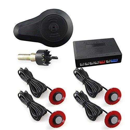 Car rover® parcheggio auto sensori del sistema bibi segnale acustico con 16.5mm ufo a forma di 4 universali originale sensori(argento)