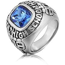 Taizhiwei retro marron anillos piedras preciosas titanio acero inoxidable anillos talla piedra simples plata anillo hombre