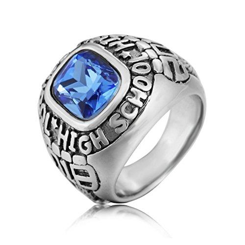 Taizhiwei anillo zafiro militar titanio acero inoxidable anillos talla piedra personalizado plata moteros anillo hombre