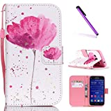 Samsung Galaxy Core Prime Case,Galaxy Core Prime G360 Case,Flip Case for Galaxy Core Prime SM-G360F,EMAXELERS Cool Skull Flower Painted Pattern Flip PU Leather Fold Wallet Case Cover with Magnetic Closure Built-in Credit Card Slot and Soft TPU Bumper Case Cover for Samsung Galaxy Core Prime Red flower