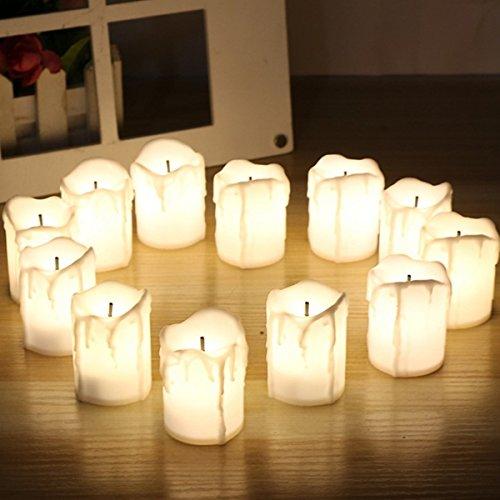 Inovey 12Pcs Led Lumière De Thé Bougie Lumière De Thé Flameless Flickering Batterie Opération Pour Le Mariage De Noël -Rouge