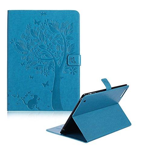 Blau Hülle für iPad 2,Brieftasche Hülle für iPad 4,Funyye Stilvoll Ziemlich Bäume Schmetterlinge Katzen Geprägte Muster PU Ledertasche Flip Case Folding Cover Bookstyle Eingebautem Ständer Standfunktion Kreditkartenfächer Lederhülle Schale mit Automatischem Schlaf Funktion Und Wach Funktion + 1 x Frei Stift