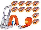 10 x 5000kg dan 4m Spanngurte mit Ratsche und Haken Zurrgurte Ratschengurte 50mm