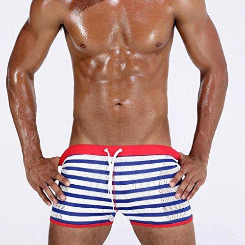 LJ&L Herren-Mode gestreifte Gezeitenhose, Mesh-atmungsaktive, komfortable, schnell trocknende Stretch-Hose Schwimmenstämme, Outdoor-Freizeitstrand, Schwimm-Shorts A