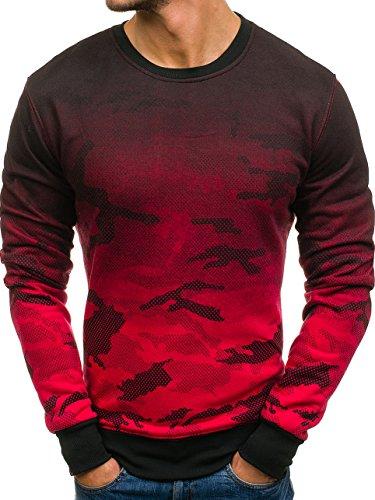 BOLF Herren Sweatshirt Rundhalsausschnitt Pullover Camo Army Militär J.Style DD132-2 Rot L [1A1]