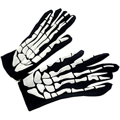 Aohro Full Finger Guantes con dibujo de esqueleto para Halloween Fancy Dress Accessory