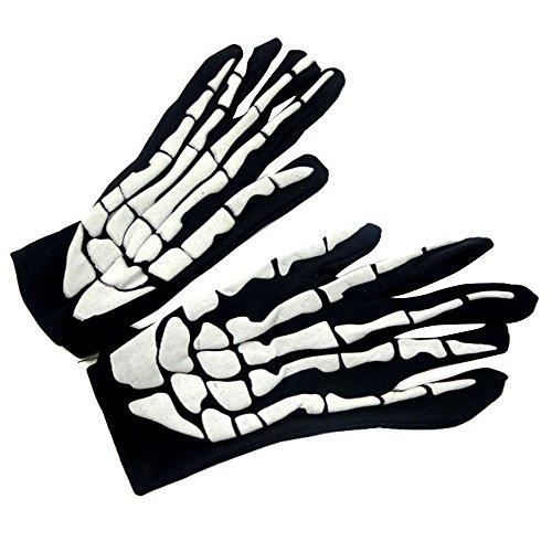 Aohro 1 Paar Full Finger Handschuhe Schwarz Skelett Gloves für Halloween Kostüm Zubehör