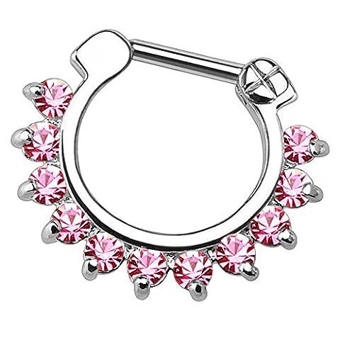 Piersando Piercing Scharnier Clicker Bar Ring mit Kristall Spikes Zapfen Vintage Septum für Tragus Helix Ohr Nase Lippe Brust Intim 1,6mm Silber Pink Rosa