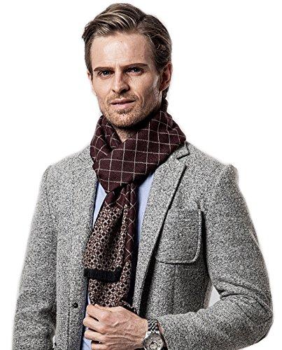 Bufanda de Hombre la tela escocesa cozy Abrigo Del Mantón cuello bufanda Regalos para Hombre Café...
