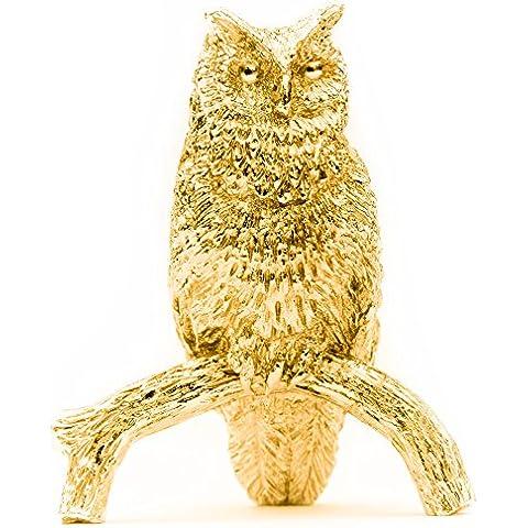 Búho (Tamaño L) Hecho en Reino Unido Artístico Animal Figura Colección (bañoda en oro de 22 quilates)