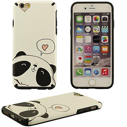Klar modischen Design Cooler Cartoon Panda Hartplastik Case Schutzhülle für Apple iPhone 6 plus / 6S plus Hülle 5.5 inch Weiß