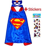 SUPERMAN Superhero Cape and Mask for Kids - Boys Party Costume Children Fancy Dress up Capes for 2 to 11 years - Satin Double-sided - King Mungo - KMSC008