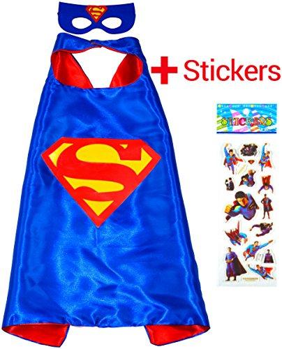 -Kostüme für Kinder - Cape und Maske - Spielsachen für Jungen und Mädchen - Kostüm für Kinder von 3 bis 10 Jahre - für Fasching oder Motto-Partys! - King Mungo - KMSC008 (Kinder-superman-outfit)