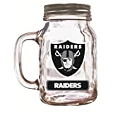 Officially Licensed NFL Glass Mason Jar Cup with Screw Cap - Oakland Raiders