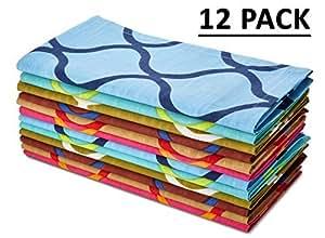 Serviettes en coton Craft Extra Large pour carrelage marocain Lot de 12serviettes en papier ultra doux Multipack 100% coton de qualité supérieure Conçu avec un large ourlet Serviettes en papier mesure 50,8cm par 50,8cm Entretien facile Lavage en Machine à