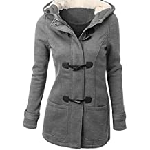 Zhhlinyuan Ropa populares Womens Cotton Horns Buckle Coat Long Hooded Wool Blended Winter Jacket Plus Size