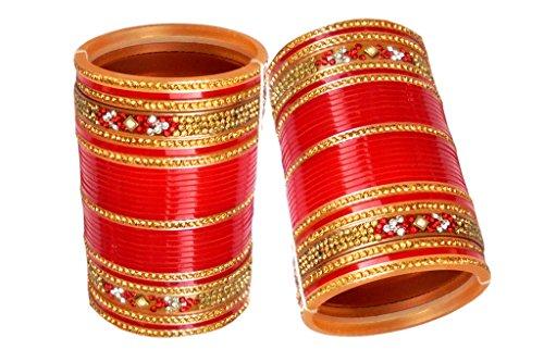 6. Top Quality Zircon Stone Red/Mahroon/Golden/White Designer Wedding/Engagement Punjabi Suhag Chuda, Bangle Set of 60 For Women Designed By VIVAH BRIDAL CHURA