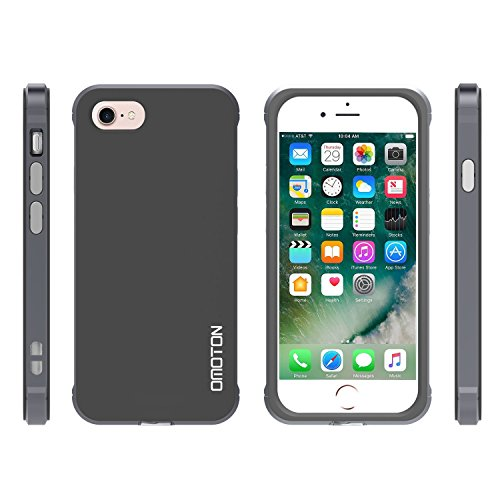 OMOTON Schutzhülle für iPhone 7, [PC and Soft TPU], Anti-Kratz, bombenfest, weiß space grau