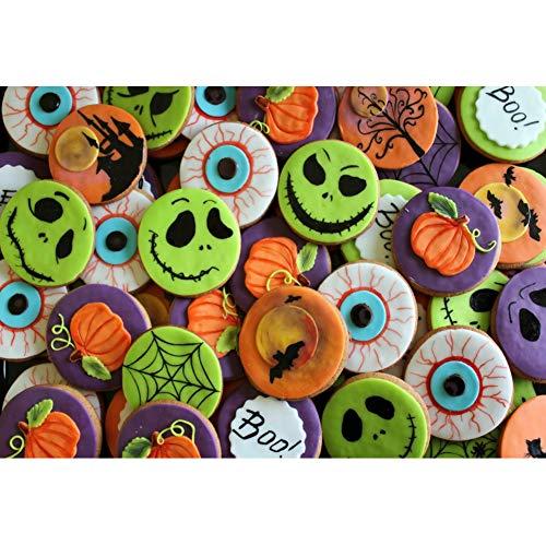 OERJU 2,7x1,8m Halloween Hintergrund Halloween Element Kuchen Kuchen Hintergrund Halloween Party Fotografie Süßes oder Saures Kinder Party Banner Dekoration Porträt Requisiten