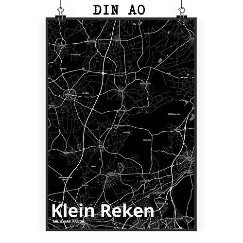 Mr. & Mrs. Panda Poster DIN A0 Stadt Klein Reken Stadt Black - Stadt Dorf Karte Landkarte Map Stadtplan Wandposter, Wanddeko, Fan, Fanartikel, Souvenir, Andenken, Fanclub, Stadt, Mitbringsel