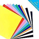 Vinyle de Transfert de Chaleur PU pour tissu T Shirts - 15 Feuilles 30cm x 30cm Papier de Transfert - Couleurs Assorties - Fer sur HTV Kit de Démarrage Coloré de Vinyle pour Cricut et Silhouette (Plusieurs couleurs)