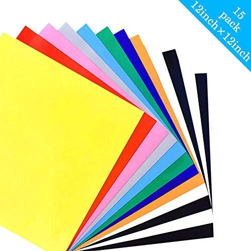 PU Heat Transfer Vinyl für T Shirts Stoff - Wärmeübertragung Vinyl 15 Blatt 30 cm x 30 cm Transferpapier - Eisen auf HTV Vinyl farbige Starter Kit für Cricut und Silhouette Cameo (Mehrfarbig) -