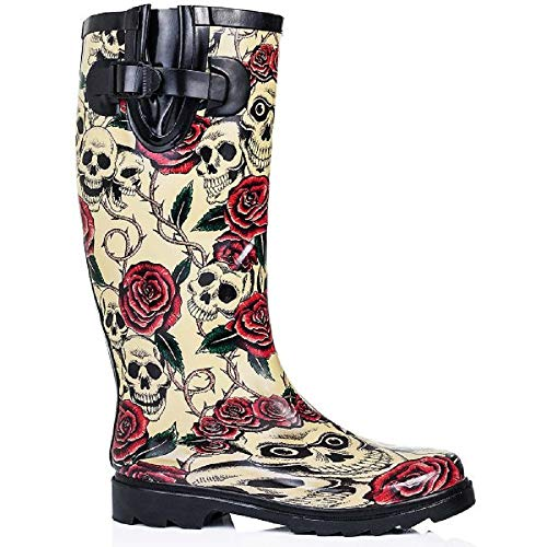 Sky Walker Ladies Women Knee High Flat Festival SKO Wellies Wellingtons Waterproof Rain Boots Size 3-8