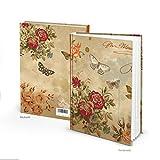 Notizbuch vintage Nostalgie DIN A5 braun beige rot floral ROSEN SCHMETTERLING Blanko-Buch HARDCOVER Tagebuch Geschenkbuch alt wirkend Glücksmomente aufschreiben